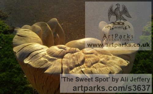 Wood (Oak) Garden Or Yard / Outside and Outdoor sculpture by sculptor Ali Jeffery titled: 'The Sweet Spot (Carved Wood Chunky sculpture garden Furniture)'