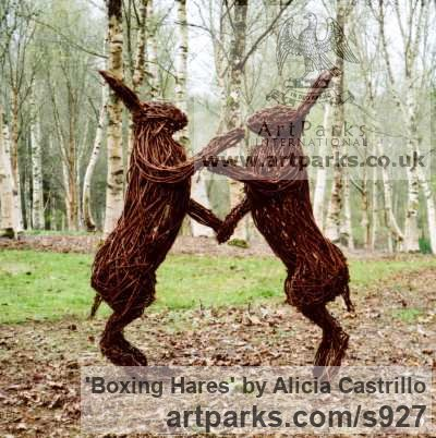 Steel and Willow Garden Or Yard / Outside and Outdoor sculpture by sculptor Alicia Castrillo titled: 'Boxing Hares (Outsize Mad Willow Outdoor statues)'