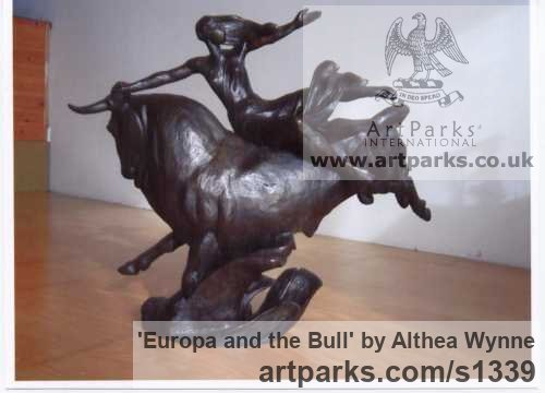 Bronze Females Women Girls Ladies sculpture statuettes figurines sculpture by sculptor Althea Wynne titled: 'Europa and the Bull'
