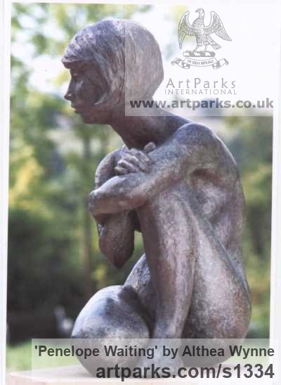 Bronze Garden Or Yard / Outside and Outdoor sculpture by sculptor Althea Wynne titled: 'Penelope Waiting (bronze Seated nude Girl garden statue/sculpture)' - Artwork View 2
