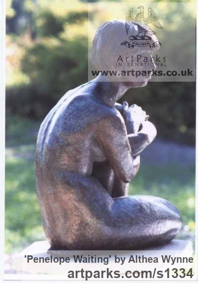 Bronze Garden Or Yard / Outside and Outdoor sculpture by sculptor Althea Wynne titled: 'Penelope Waiting (bronze Seated nude Girl garden statue/sculpture)' - Artwork View 3