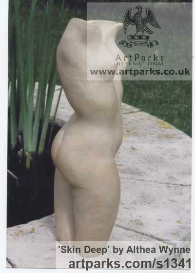 High-fired Stoneware clay Garden Or Yard / Outside and Outdoor sculpture by sculptor Althea Wynne titled: 'Skin Deep (ceramic nude Girl`s Torso garden statues)' - Artwork View 1