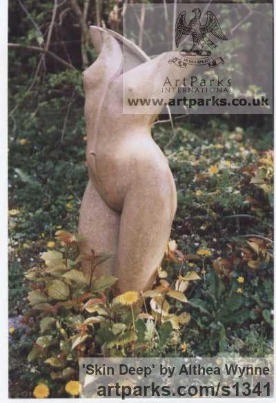 High-fired Stoneware clay Garden Or Yard / Outside and Outdoor sculpture by sculptor Althea Wynne titled: 'Skin Deep (ceramic nude Girl`s Torso garden statues)' - Artwork View 2
