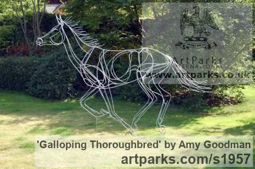 Galvanised welded steel Garden Or Yard / Outside and Outdoor sculpture by sculptor Amy Goodman titled: 'Galloping Thoroughbred (Race Horse Outside sculptures)'
