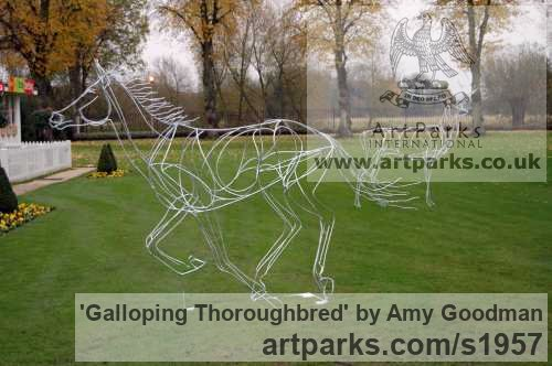 Galvanised welded steel Garden Or Yard / Outside and Outdoor sculpture by sculptor Amy Goodman titled: 'Galloping Thoroughbred (Race Horse Outside sculptures)' - Artwork View 3