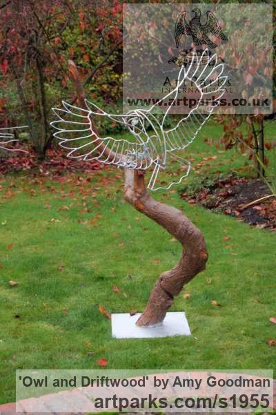 Galvanised welded steel and driftwood Garden Or Yard / Outside and Outdoor sculpture by sculptor Amy Goodman titled: 'Owl and Driftwood (Wire Modern landing sculpture)' - Artwork View 2
