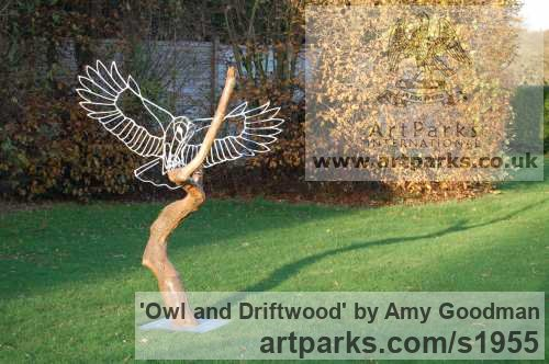 Galvanised welded steel and driftwood Garden Or Yard / Outside and Outdoor sculpture by sculptor Amy Goodman titled: 'Owl and Driftwood (Wire Modern landing sculpture)' - Artwork View 3