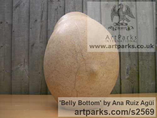 Carved Bath Stone Sensual Sculptures or sculpture by sculptor Ana Ruiz Agьн titled: 'Belly Bottom (Carved Giant/outsize stone Breast Nipple Navel statues)'