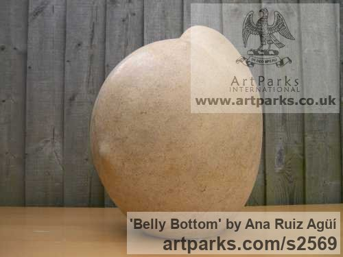 Carved Bath Stone Sensual Sculptures or sculpture by sculptor Ana Ruiz Agьн titled: 'Belly Bottom (Carved Giant/outsize stone Breast Nipple Navel statues)' - Artwork View 2