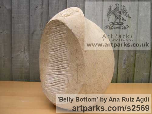 Carved Bath Stone Sensual Sculptures or sculpture by sculptor Ana Ruiz Agьн titled: 'Belly Bottom (Carved Giant/outsize stone Breast Nipple Navel statues)' - Artwork View 3