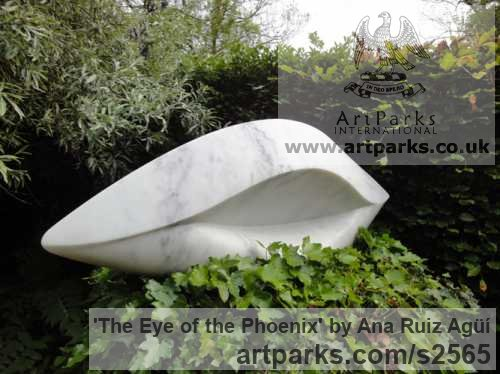 Marble Garden Or Yard / Outside and Outdoor sculpture by sculptor Ana Ruiz Agьн titled: 'The Eye of the Phoenix (Carved marble Modern Contemporary statues)'