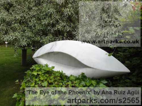 Marble Garden Or Yard / Outside and Outdoor sculpture by sculptor Ana Ruiz Agьн titled: 'The Eye of the Phoenix (Carved marble Modern Contemporary statues)' - Artwork View 2