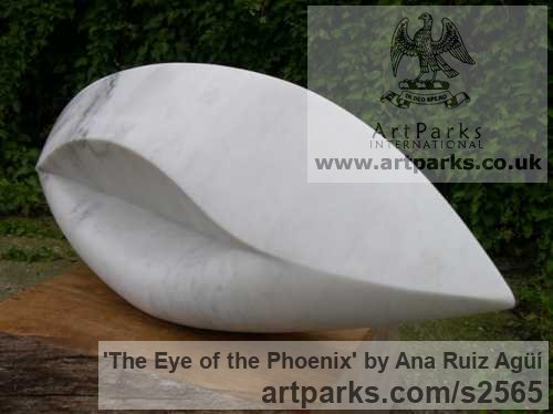 Marble Garden Or Yard / Outside and Outdoor sculpture by sculptor Ana Ruiz Agьн titled: 'The Eye of the Phoenix (Carved marble Modern Contemporary statues)' - Artwork View 3