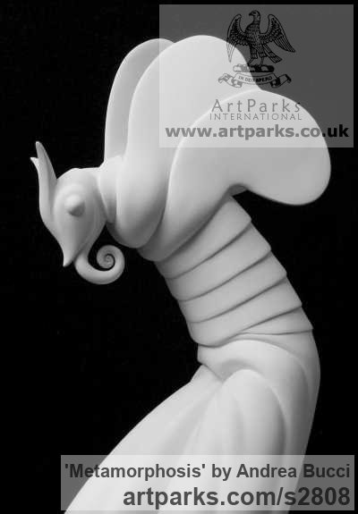 White ceramic bisque Insect Sculptures, to include Bees, Ants, Moths, Butterflies etc sculpture by sculptor Andrea Bucci titled: 'Metamorphosis (White ceramic insect sculpture statuette ornament)' - Artwork View 2