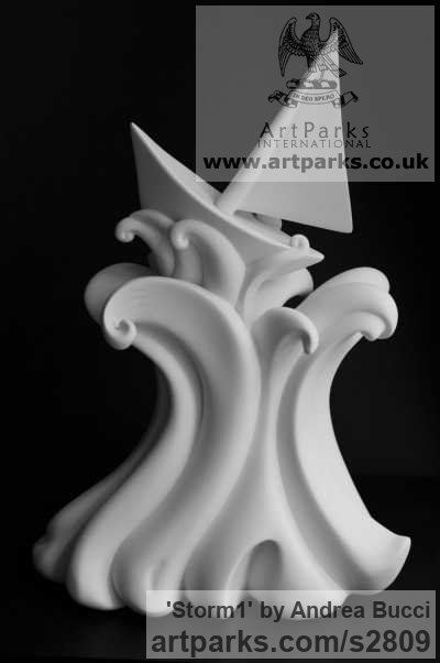 White ceramic bisque Toys Sculpture / statue / statuette / figurine sculpture by sculptor Andrea Bucci titled: 'Storm1 (ceramic Sailing Boat in Rough Waves/Sea statuette statue)' - Artwork View 2