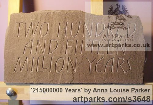 Red Sandstone Garden Or Yard / Outside and Outdoor sculpture by sculptor Anna Louise Parker titled: '215000000 Years (Carved Lettering in stone Slab Panel Block statue)'