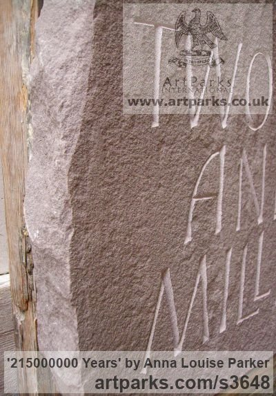 Red Sandstone Garden Or Yard / Outside and Outdoor sculpture by sculptor Anna Louise Parker titled: '215000000 Years (Carved Lettering in stone Slab Panel Block statue)' - Artwork View 4