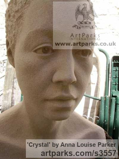 Portland Stone Portrait Sculptures / Commission or Bespoke or Customised sculpture by sculptor Anna Louise Parker titled: 'Crystal (Carved stone Commission Custom Head Bust)'