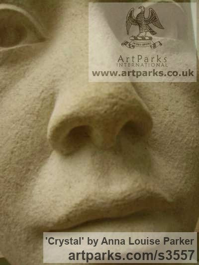 Portland Stone Portrait Sculptures / Commission or Bespoke or Customised sculpture by sculptor Anna Louise Parker titled: 'Crystal (Carved stone Commission Custom Head Bust)' - Artwork View 2