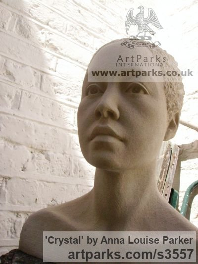 Portland Stone Portrait Sculptures / Commission or Bespoke or Customised sculpture by sculptor Anna Louise Parker titled: 'Crystal (Carved stone Commission Custom Head Bust)' - Artwork View 4
