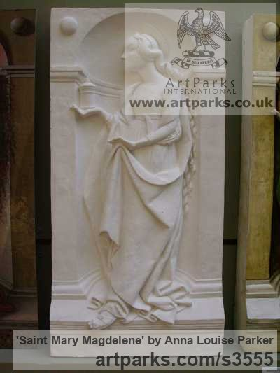 Plaster High Relief or Haute Relief Carving Sculpture Wall Panel casting in Bronze / Copper sculpture by sculptor Anna Louise Parker titled: 'Saint Mary Magdelene (High/Haut Relief statues/wall Plaque)'