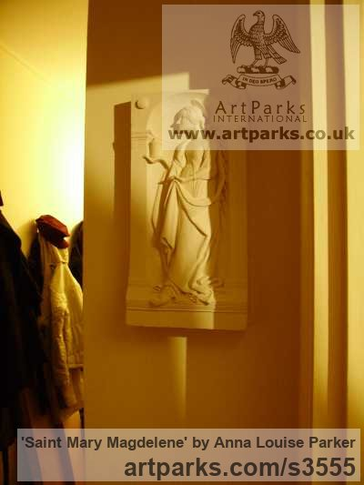 Plaster High Relief or Haute Relief Carving Sculpture Wall Panel casting in Bronze / Copper sculpture by sculptor Anna Louise Parker titled: 'Saint Mary Magdelene (High/Haut Relief statues/wall Plaque)' - Artwork View 2