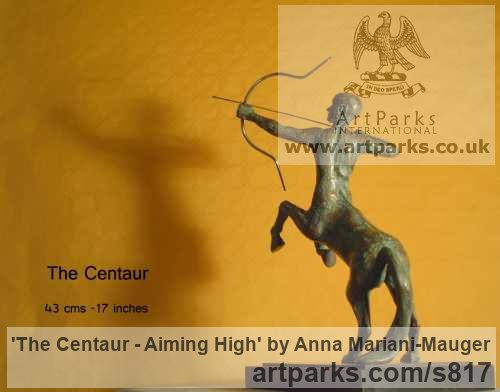 Bronze Male Men Youths Masculine sculpturettes figurines sculpture by sculptor Anna Mariani-Mauger titled: 'The Centaur - Aiming High (bronze Desk Top Indoors statuettes/statues)'