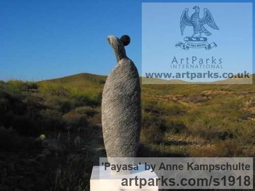 Petit Granit Stone Garden Or Yard / Outside and Outdoor sculpture by sculptor Anne Kampschulte titled: 'Payasa (Contemporary Carved stone garden statue)' - Artwork View 2