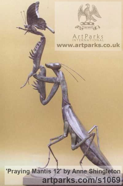 Bronze Insect Sculptures, to include Bees, Ants, Moths, Butterflies etc sculpture by sculptor Anne Shingleton titled: 'Praying Mantis 12 (Massive Outsize Realistic Bronze Insect statuess)'