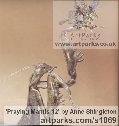 Bronze Insect Sculptures, to include Bees, Ants, Moths, Butterflies etc sculpture by sculptor Anne Shingleton titled: 'Praying Mantis 12 (Massive Outsize Realistic Bronze Insect statuess)' - Artwork View 2