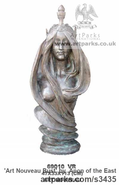 Bronze Garden Or Yard / Outside and Outdoor sculpture by sculptor Anon of the East titled: 'Art Nouveau Bust (Pretty Girl Torso bronze statue Indoor/Outdoor)' - Artwork View 1