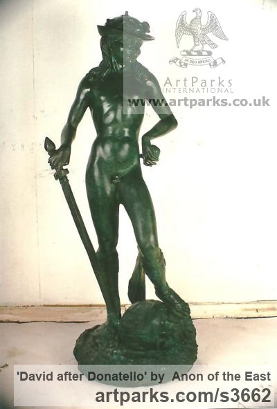 Bronze Garden Or Yard / Outside and Outdoor sculpture by sculptor Anon of the East titled: 'David after Donatello'