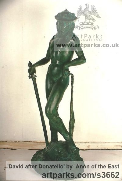 Bronze Garden Or Yard / Outside and Outdoor sculpture by sculptor Anon of the East titled: 'David after Donatello' - Artwork View 2