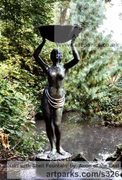 Bronze Garden Or Yard / Outside and Outdoor sculpture by sculptor Anon of the East titled: 'Slave Girl with shell fountain (Water Carrier/Aquarius garden statues)' - Artwork View 1