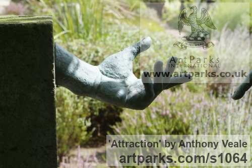 Bronze Abstract Contemporary Modern Outdoor Outside Garden / Yard sculpture statuary sculpture by sculptor Anthony Veale titled: 'Attraction (Bronze Allegorical Magnet garden Outdoor sculpture)' - Artwork View 2