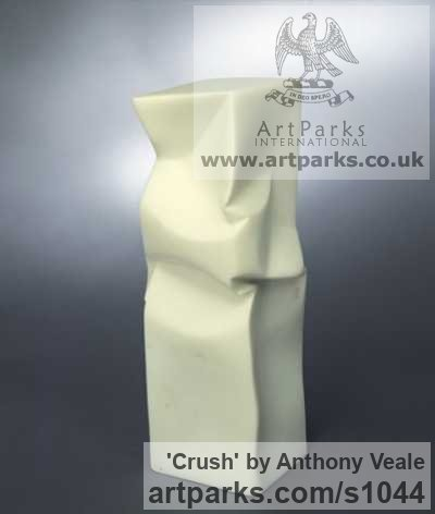 Carrara Marble Abstract Contemporary or Modern Outdoor Outside Exterior Garden / Yard sculpture statuary sculpture by sculptor Anthony Veale titled: 'Crush (Carved marble Contemporary sculptures Symbolic Modern Care)'