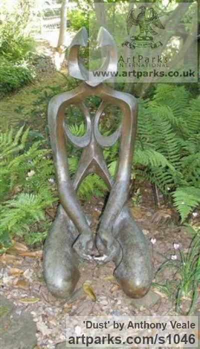 Bronze Garden Or Yard / Outside and Outdoor sculpture by sculptor Anthony Veale titled: 'Dust (bronze Kneeling Modern nude Nymph garden sculpture)'