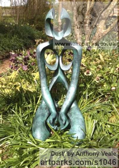 Bronze Garden Or Yard / Outside and Outdoor sculpture by sculptor Anthony Veale titled: 'Dust (bronze Kneeling Modern nude Nymph garden sculpture)' - Artwork View 4