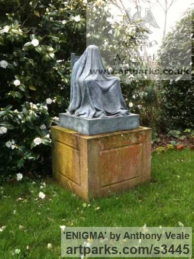 Bronze Garden Or Yard / Outside and Outdoor sculpture by sculptor Anthony Veale titled: 'ENIGMA (Bronze Draped Seated life size garden/Yard sculpture/statue)' - Artwork View 2