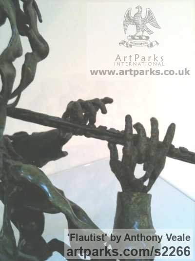 Bronze Abstract Contemporary Modern Outdoor Outside Garden / Yard sculpture statuary sculpture by sculptor Anthony Veale titled: 'Flautist (Bronze abstract Musician Torso Indoor sculptures/statues)' - Artwork View 3