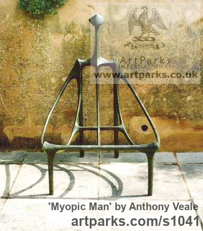 Bronze Garden Or Yard / Outside and Outdoor sculpture by sculptor Anthony Veale titled: 'Myopic Man (Contemporary abstract Seated/Sitting Man Bronze sculpture)' - Artwork View 3