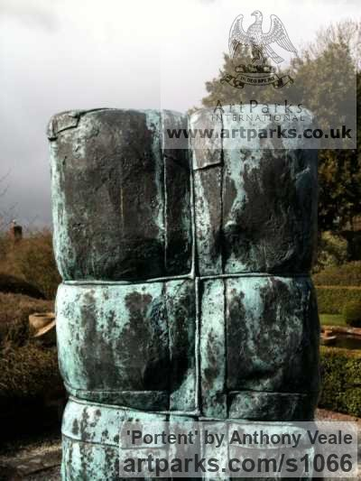 Bronze Garden Or Yard / Outside and Outdoor sculpture by sculptor Anthony Veale titled: 'Portent (Parcel Bronze Expectation Anticipation garden Yard statue)' - Artwork View 3