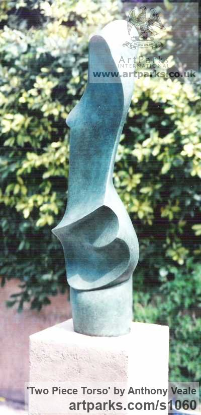 Bronze Abstract Contemporary or Modern Outdoor Outside Exterior Garden / Yard sculpture statuary sculpture by sculptor Anthony Veale titled: 'Two Piece Torso (nude Semi abstract Outdoor garden bronze sculptures)' - Artwork View 3