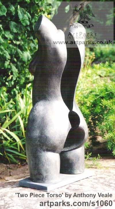 Bronze Abstract Contemporary or Modern Outdoor Outside Exterior Garden / Yard sculpture statuary sculpture by sculptor Anthony Veale titled: 'Two Piece Torso (nude Semi abstract Outdoor garden bronze sculptures)' - Artwork View 4