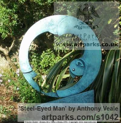 Bronze Abstract Contemporary Modern Outdoor Outside Garden / Yard sculpture statuary sculpture by sculptor Anthony Veale titled: 'Steel-eyed Man (Modern Bronze Contemporary abstract garden Yard statue)'