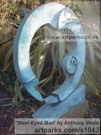 Bronze Abstract Contemporary Modern Outdoor Outside Garden / Yard sculpture statuary sculpture by sculptor Anthony Veale titled: 'Steel-eyed Man (Modern Bronze Contemporary abstract garden Yard statue)' - Artwork View 3