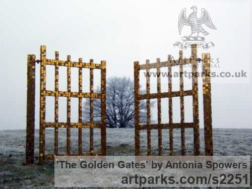 Painted aluminium Abstract Contemporary Modern Outdoor Outside Garden / Yard sculpture statuary sculpture by sculptor Antonia Spowers titled: 'The Golden Gates'