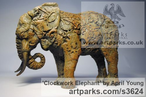 Bronze Resin Wild Animals and Wild Life sculpture by sculptor April Young titled: 'Clockwork Elephant (Bronze small Semi abstract sculptures/statuettes)'