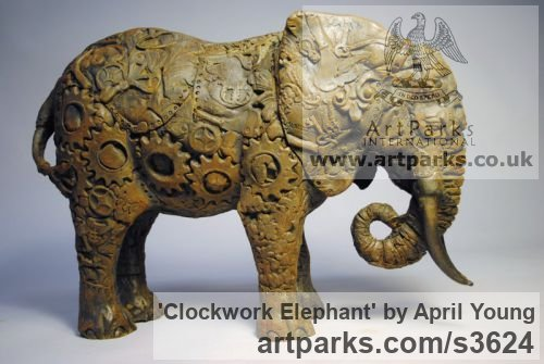 Bronze Resin Wild Animals and Wild Life sculpture by sculptor April Young titled: 'Clockwork Elephant (bronze small Semi abstract sculptures/statuettes)' - Artwork View 2