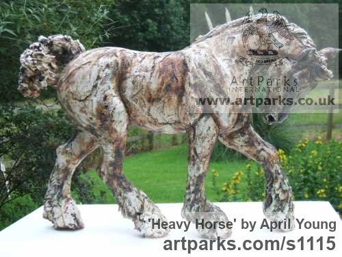 Stoneware Ceramic Horse Sculpture / Equines Race Horses Pack HorseCart Horses Plough Horsess sculpture by sculptor April Young titled: 'Heavy Horse (ceramic Shire Carthorse Percheron statuette/statue)' - Artwork View 2